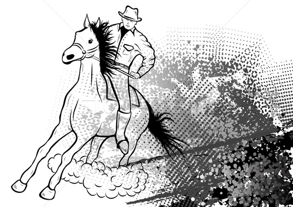 Stockfoto: Cowboy · abstract · snelheid · zwarte · lopen · behang