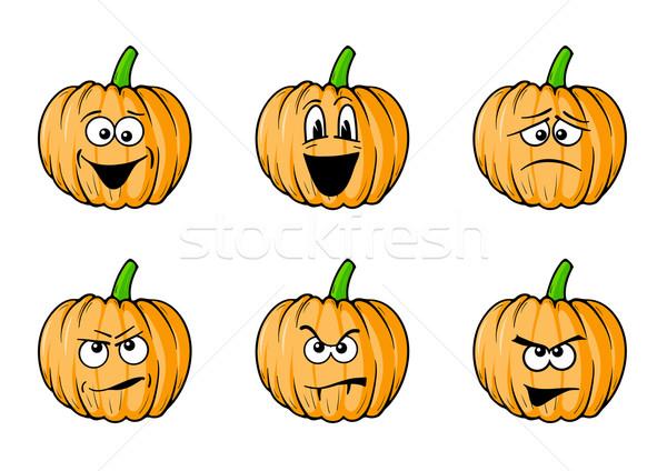 Faces abóboras conjunto halloween festa olho Foto stock © vlastas