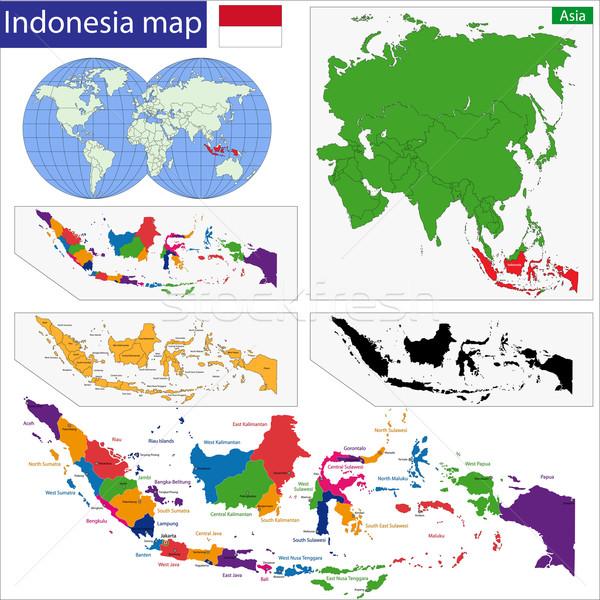 Cumhuriyet Endonezya harita renkli parlak renkler Stok fotoğraf © Volina