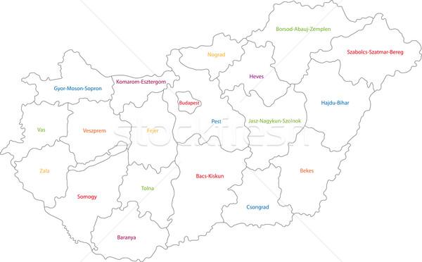 Hungría mapa administrativo república tabla Foto stock © Volina