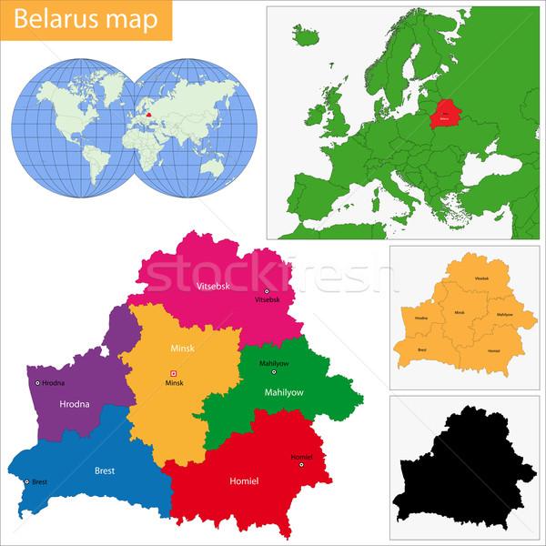 Беларусь карта административный республика силуэта стране Сток-фото © Volina