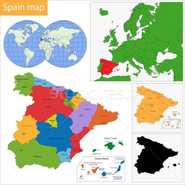 Spagna mappa amministrativa regno città paese Foto d'archivio © Volina