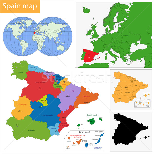 España mapa administrativo reino ciudad país Foto stock © Volina
