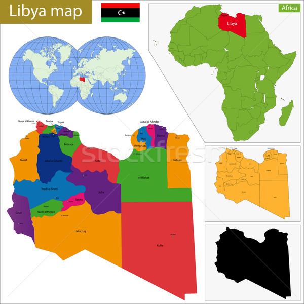 Libyen Karte administrative groß Völker arab Stock foto © Volina