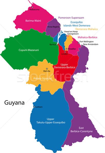Guyana mappa repubblica regioni colorato luminoso Foto d'archivio © Volina