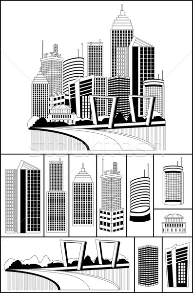 Modernes métropole ville gratte-ciel Skyline illustration Photo stock © Volina
