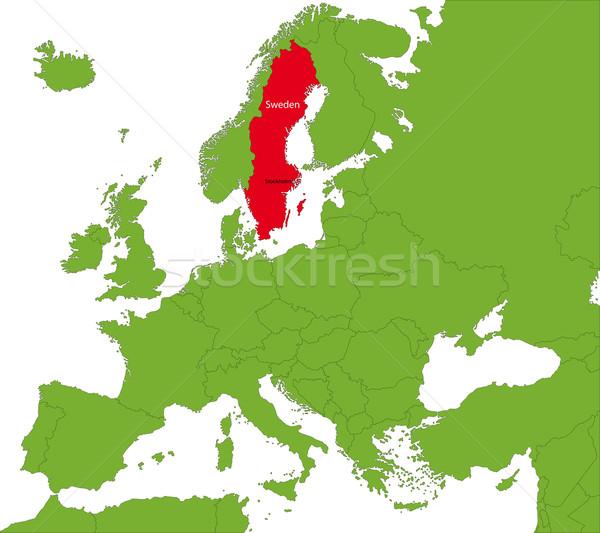 Zweden kaart plaats Europa continent stad Stockfoto © Volina