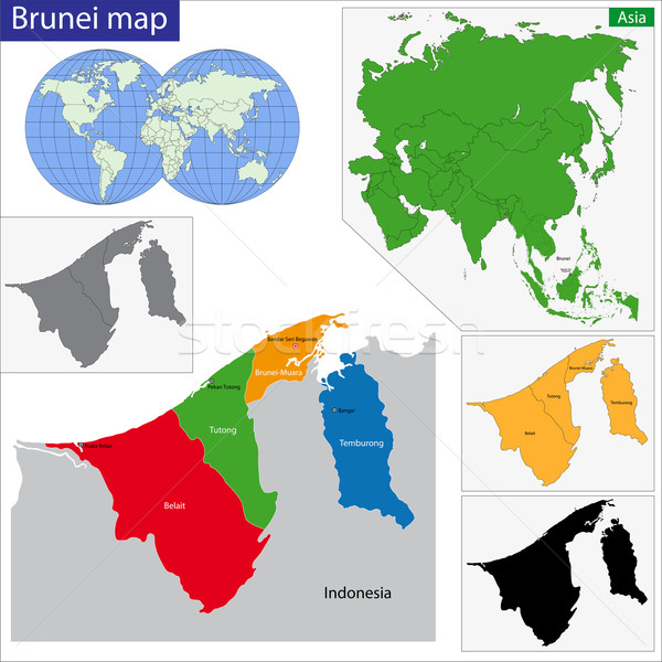 Brunei kaart gekleurd heldere kleuren stad Stockfoto © Volina