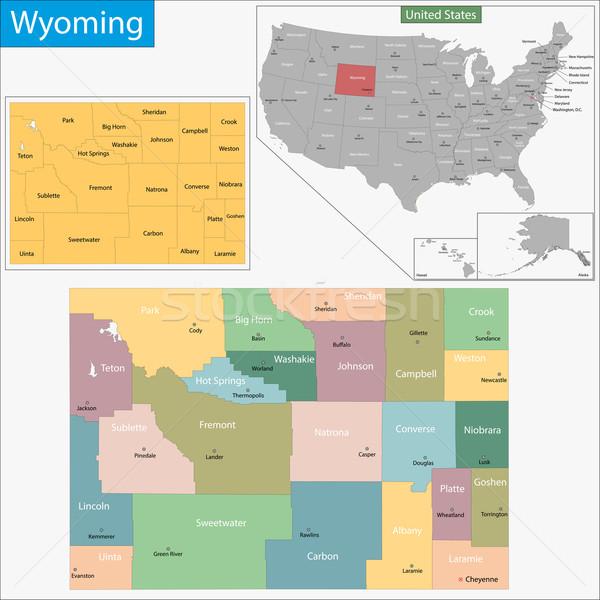 Wyoming mapa ilustración EUA Washington Estados Unidos Foto stock © Volina