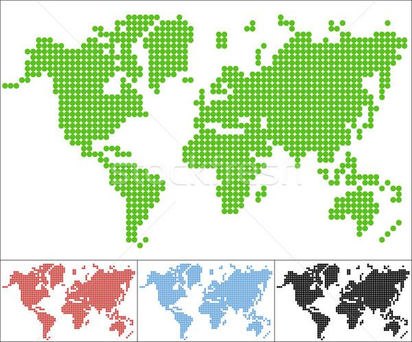 Szett pont világtérkép absztrakt egyszerűsített földgömb Stock fotó © Volina
