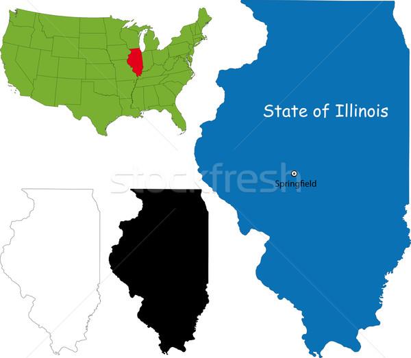 Illinois harita örnek ABD arka plan seyahat Stok fotoğraf © Volina