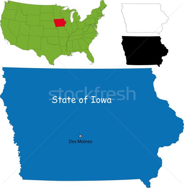 Iowa mapa ilustração EUA cor fronteira Foto stock © Volina