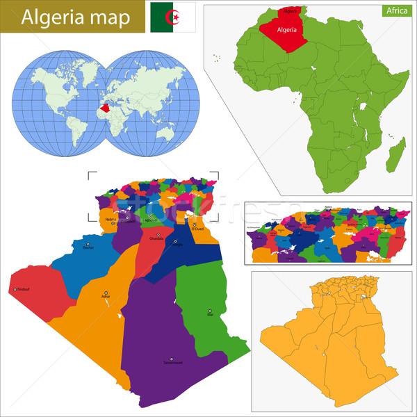 Cezayir harita yüksek detay doğruluk renkli Stok fotoğraf © Volina