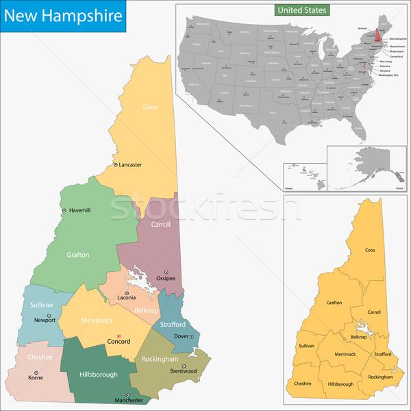 New Hampshire térkép illusztráció USA Manchester Washington Stock fotó © Volina