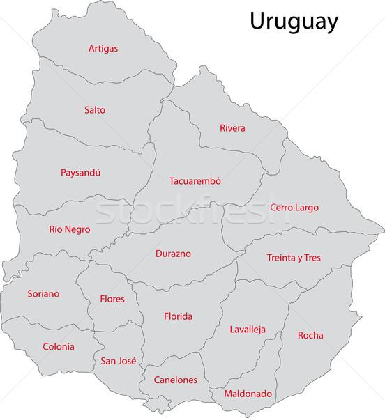 Uruguay mappa amministrativa città design bianco Foto d'archivio © Volina