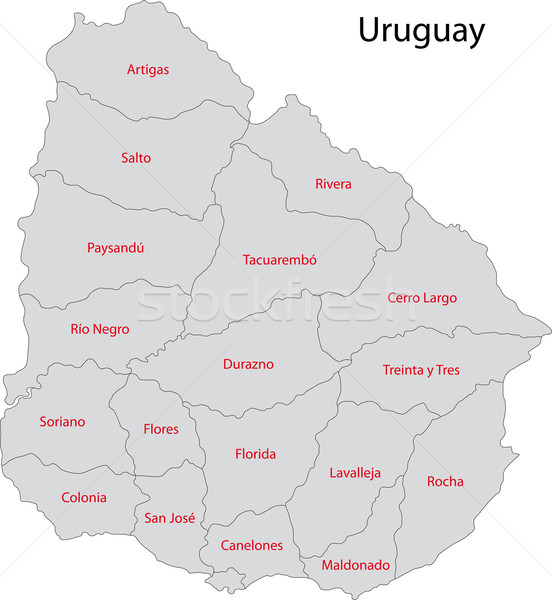 Uruguay Karte administrative Stadt Design weiß Stock foto © Volina
