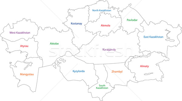 Stock photo: Contour Kazakhstan map
