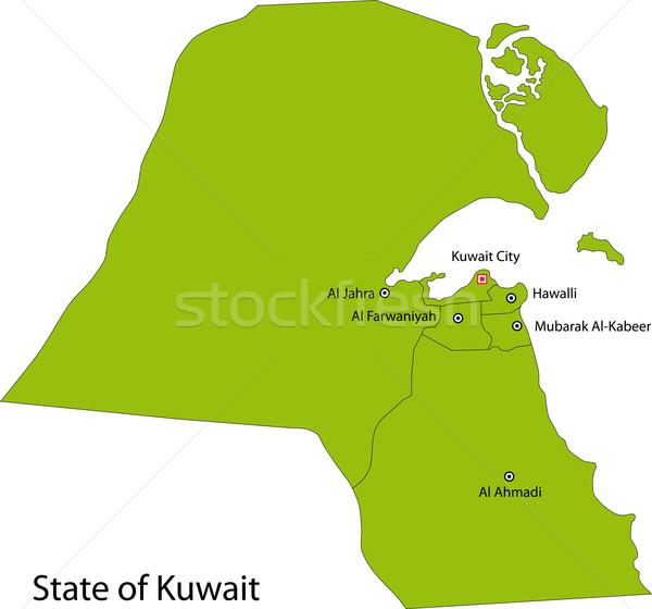 Verde Kuweit mapa administrativo cidade branco Foto stock © Volina