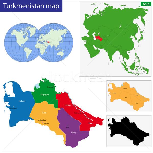 Türkmenisztán térkép adminisztratív város vidék illusztráció Stock fotó © Volina