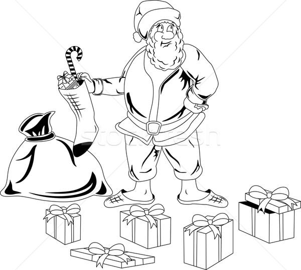 Дед Мороз Рождества представляет иллюстрация сумку человека Сток-фото © Volina