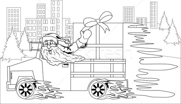 Papai noel condução carro natal dom ilustração Foto stock © Volina