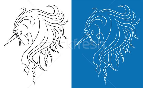 Dizayn saç güzellik sanat siluet güç Stok fotoğraf © Volina