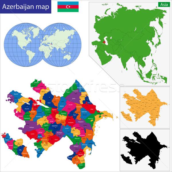 Azerbeidzjan kaart administratief achtergrond asian land Stockfoto © Volina