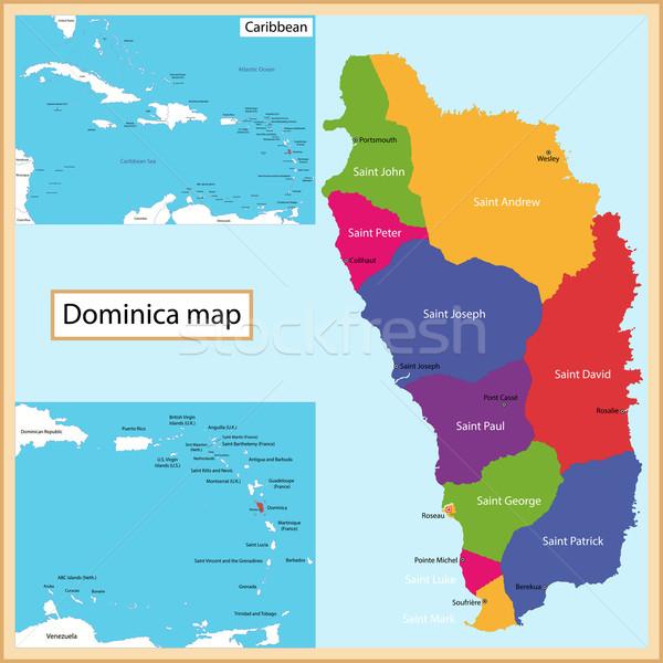 Dominica mappa alto dettaglio accuratezza Foto d'archivio © Volina