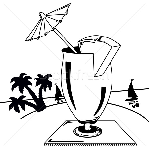 черно белые тропические пейзаж стекла зонтик океана Сток-фото © Volina