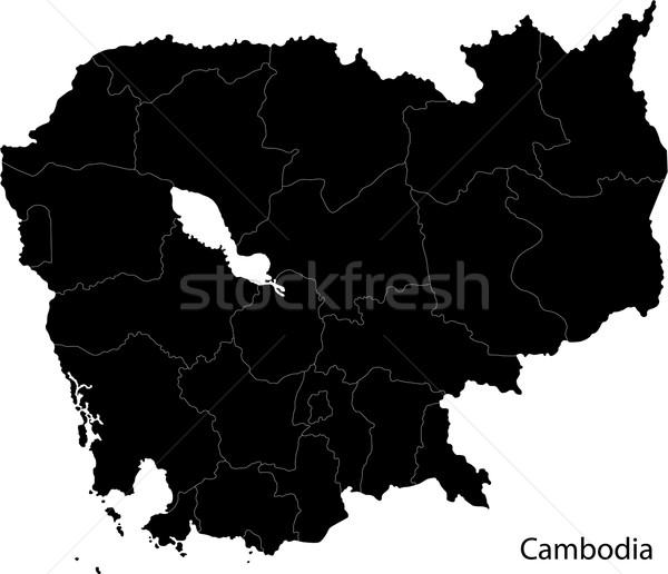 Preto Camboja mapa cidade abstrato branco Foto stock © Volina