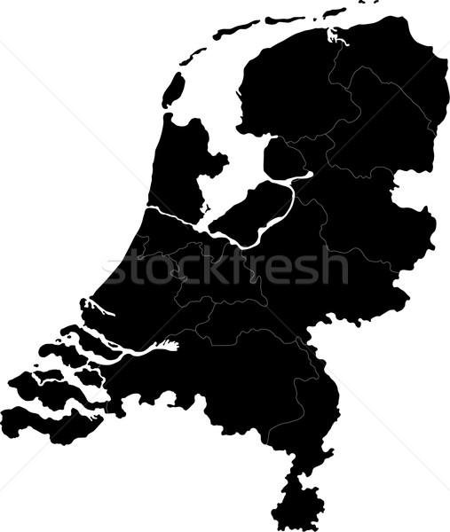 Black Netherlands map Stock photo © Volina