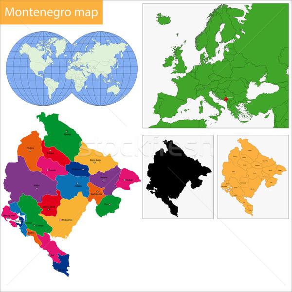 モンテネグロ 地図 行政の 市 国 実例 ストックフォト © Volina