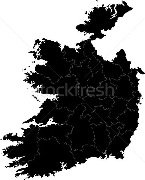 Black Ireland map Stock photo © Volina
