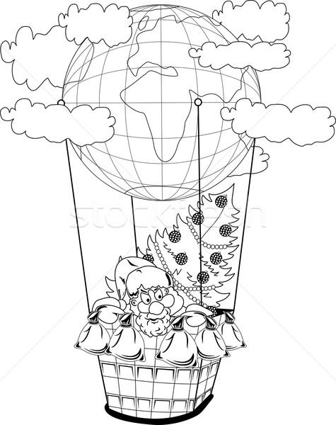 Christmas hot air balloon with Santa Claus Stock photo © Volina
