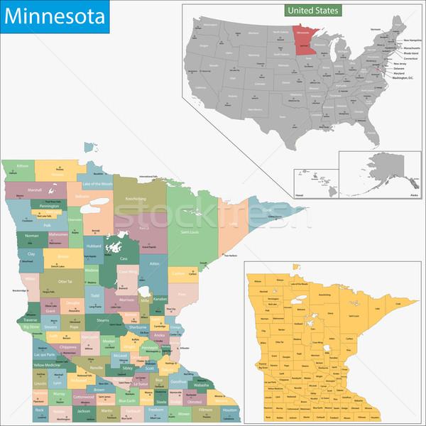 Minnesota mapa ilustração EUA Washington Estados Unidos Foto stock © Volina