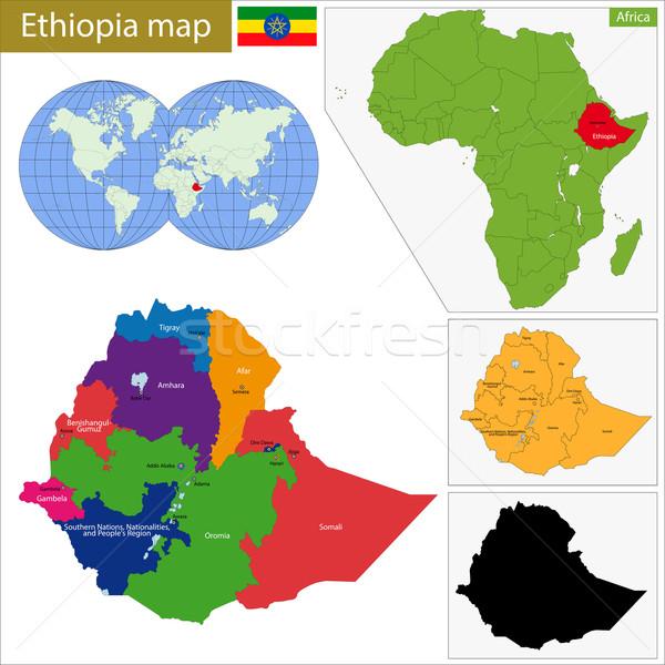 Эфиопия карта административный федеральный демократический республика Сток-фото © Volina