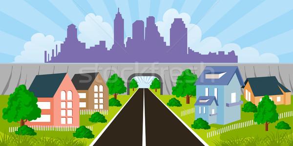 Suburbano casas Cartoon ilustración ciudad suburbio Foto stock © Volina