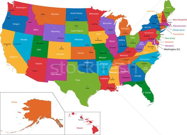 Színes USA térkép fővárosok számítógép háttér Stock fotó © Volina