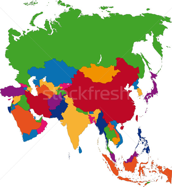 Ázsia térkép színes országok fővárosok számítógép Stock fotó © Volina