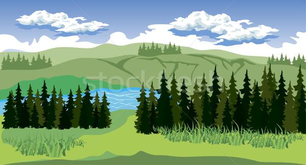 красоту пейзаж лес горные иллюстрация воды Сток-фото © Volina