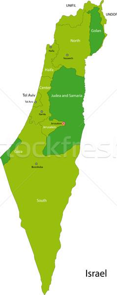 Verde Israel mapa administrativo cidade asiático Foto stock © Volina