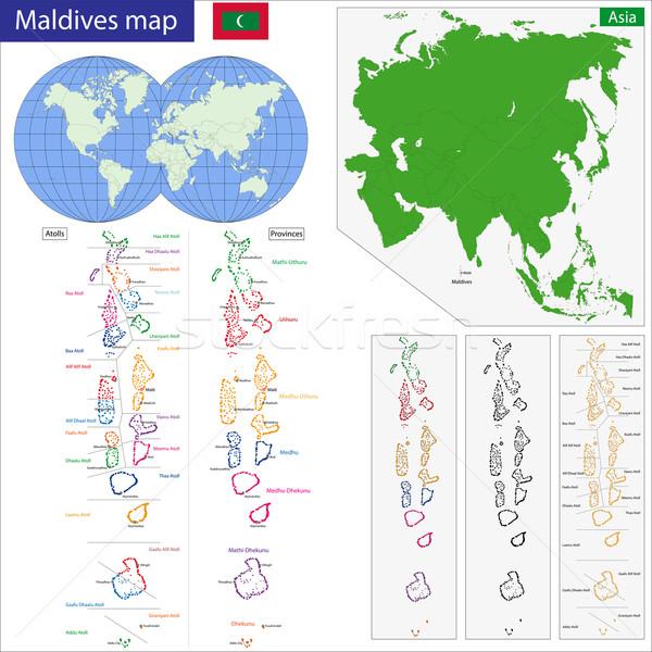 Maldivler harita cumhuriyet yüksek detay Stok fotoğraf © Volina