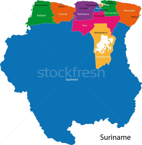республика Суринам карта ярко цветами Сток-фото © Volina
