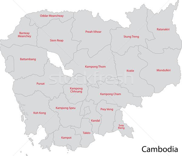 Cinza Camboja mapa administrativo cidade asiático Foto stock © Volina