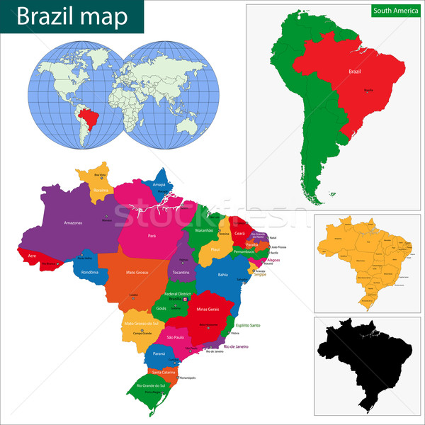 Brazil map Stock photo © Volina