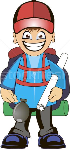 Backpacker cartoon reiziger groot rugzak kaart Stockfoto © Volina