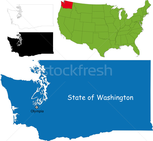 Washington kaart illustratie USA kleur grens Stockfoto © Volina