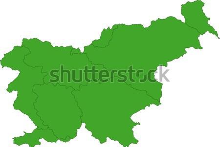 Verde Slovenia mappa amministrativa repubblica città Foto d'archivio © Volina