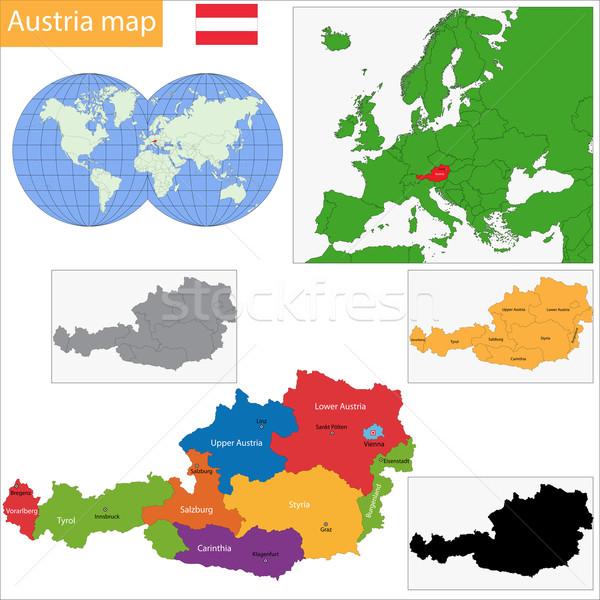 Áustria colorido mapa principal cidades silhueta Foto stock © Volina