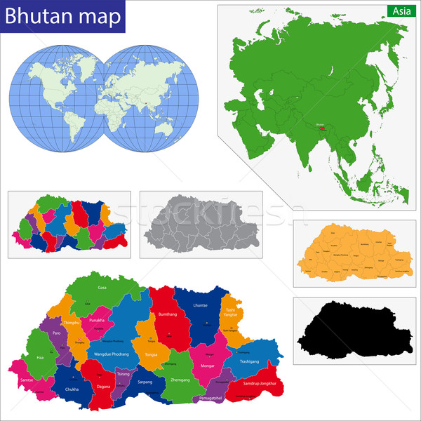 Butão mapa administrativo cidade asiático país Foto stock © Volina